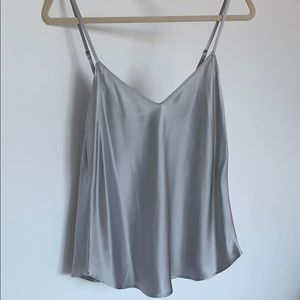 NEW Reformation silver silk tank top